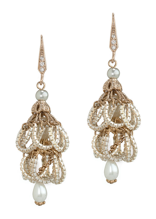 Pearl accented, chain draped vintage two tier drop earrings, Antique gold finish