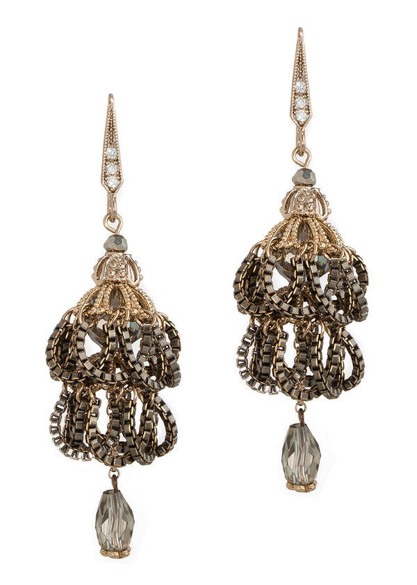 Swarovski crystal accented, chain draped vintage two tier drop earrings, Antique gold finish