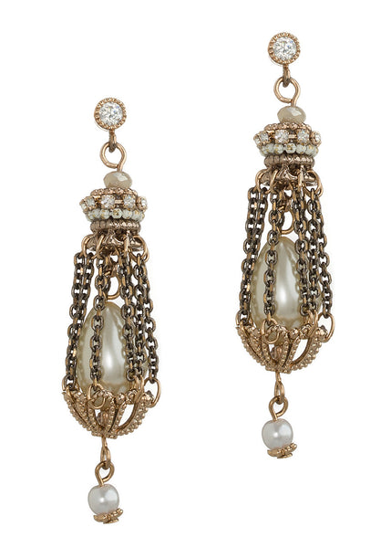 Victorian pearl on pearl drop earrings with chain chamber accent, Multi finish