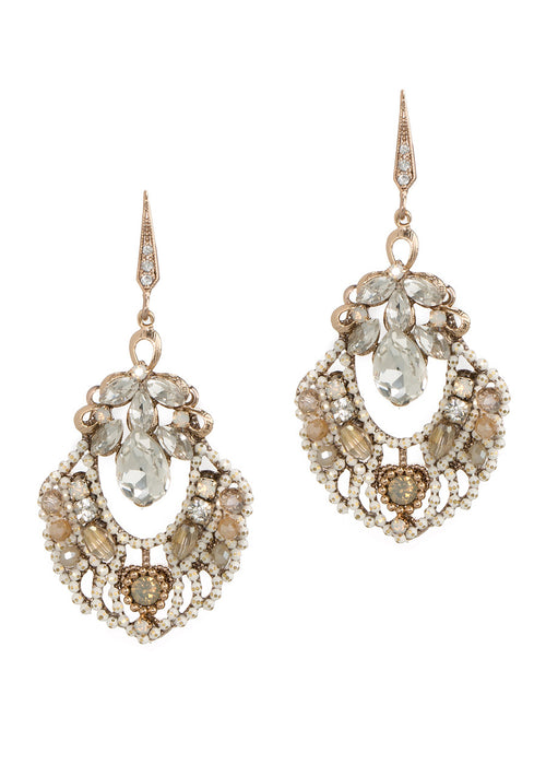 Sofia earrings with tear drop and marquis cut CZ accent, Ivory chain finish
