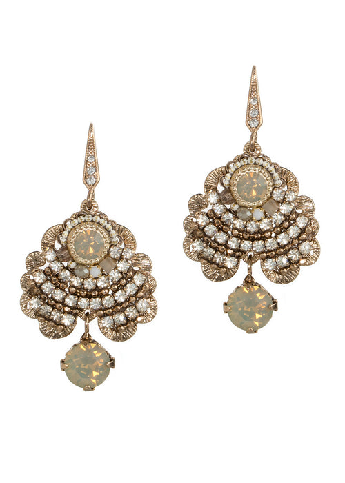 Venus earrings with Opal gray round Swarovski crystal accent, Antique gold finish