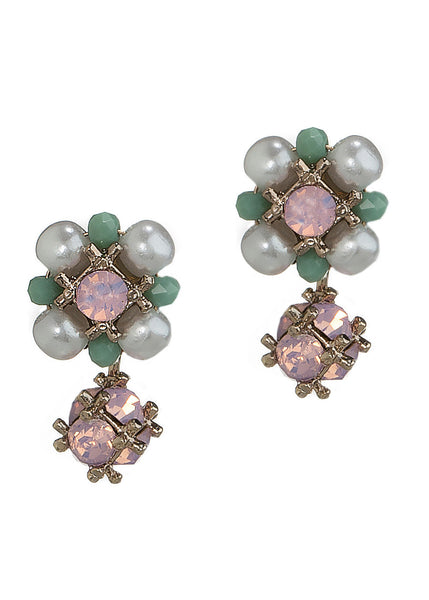 Two in one Belle stud earrings with back drop in Swarovski crystal and pearls, Antique gold finish, Pink opal combo