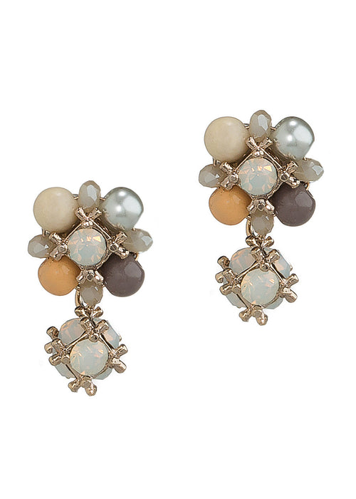 Two in one Belle stud earrings with back drop in Swarovski crystal and pearls, Antique gold finish, White opal combo