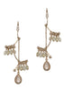 Sakura earrings with Swarovski crystals and rose quartz drop accent, Antique gold finish