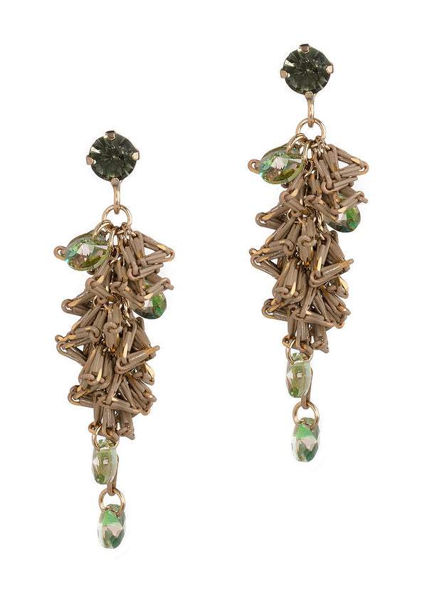 Urban chic special chain work drop earrings with Swarovski crystal accent, Black Diamond/Taupe, Antique Gold finish