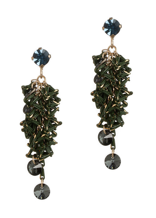 Urban chic special chain work drop earrings with Swarovski crystal accent, Blue Sapphire/Green, Antique Gold finish