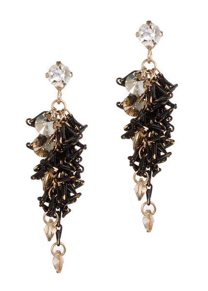 Urban chic special chain work drop earrings with Swarovski crystal accent, Clear/Black, Antique Gold finish