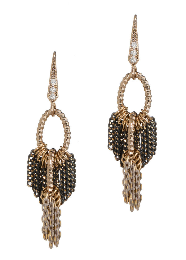 Double tier chain work drop earrings, Antique Gold finish, Gray/Nude