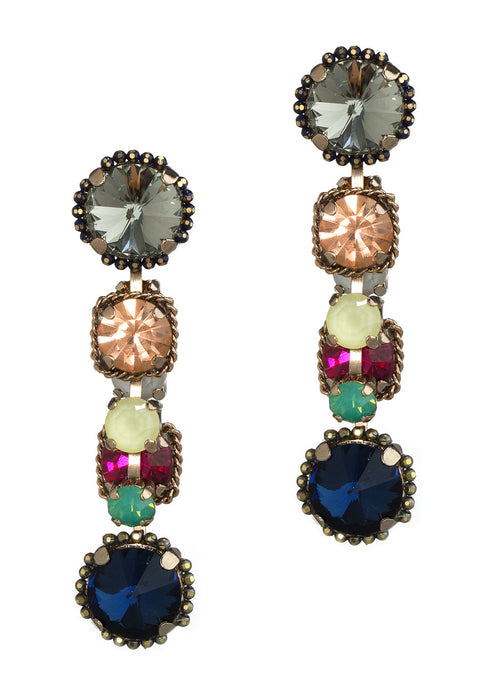 Together or separate, Theia earrings with Swarovski crystals, Antique Gold finish, Color mix