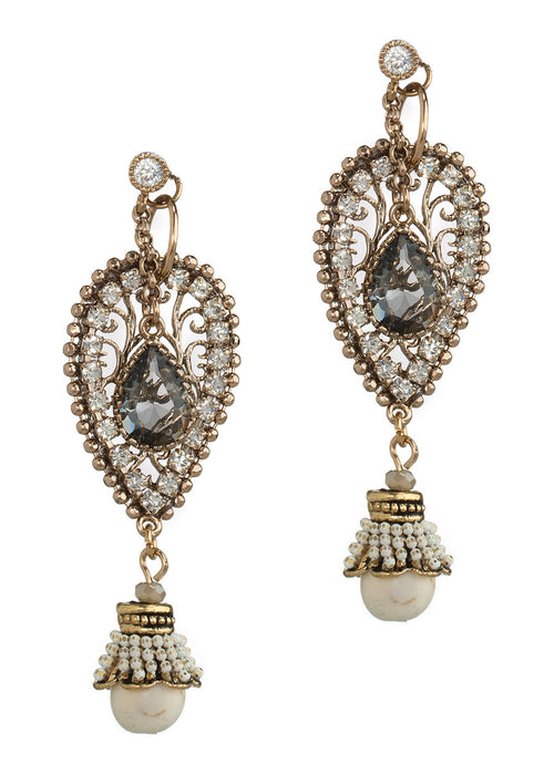 Together or separate, Moroccan drop earrings with Swarovski crystals, CZ and Agate, Antique gold finish, Ivory