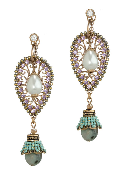 Together or separate, Moroccan drop earrings with Swarovski crystals, Pearl,  CZ and Agate, Antique gold finish, Ivory