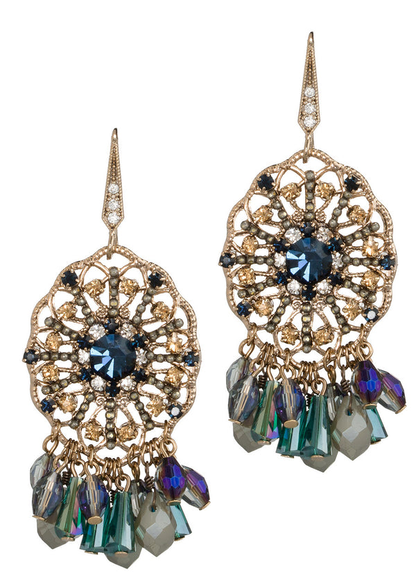 Venetian drop earrings with multi cut Swarovski crystals, Antique Gold finish, Blue accent