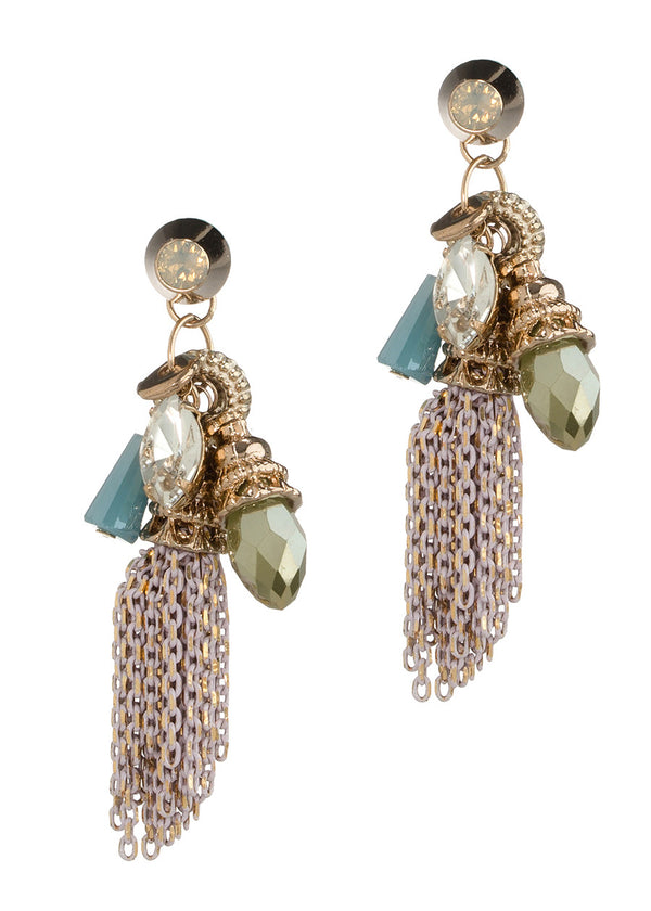 Together or separate bullet stud accented drop earrings with Swarovski crystals, CZ and tassel, Antique Gold finish, Pink Gold
