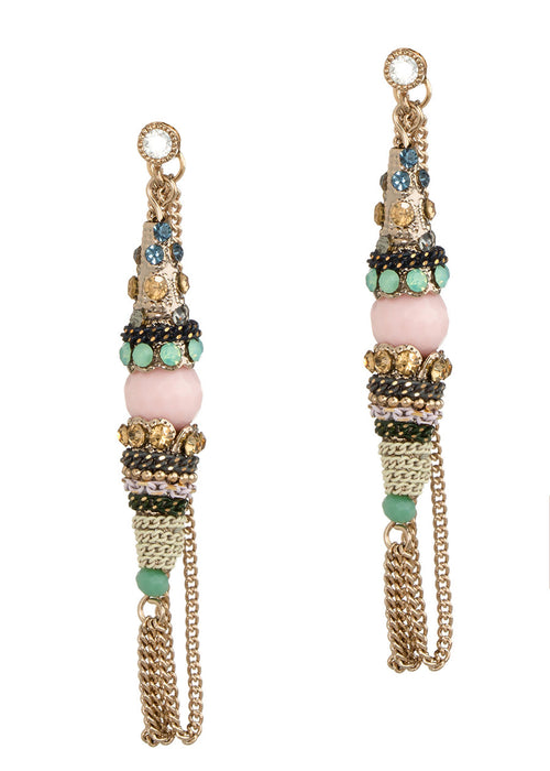 Moroccan soft hoop earrings with Swarovski crystals, CZ and chain work, Antique Gold finish, Color combo
