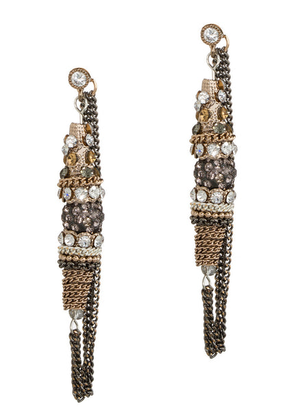 Moroccan soft hoop earrings with Swarovski crystals, CZ and chain work, Antique Gold finish, Neutral combo