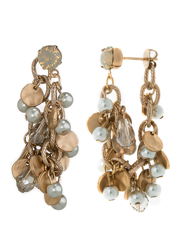 Worn down or up, Soft hoop earrings with Swarovski crystals, pearl accented with Gray opal stud, Antique Gold finish