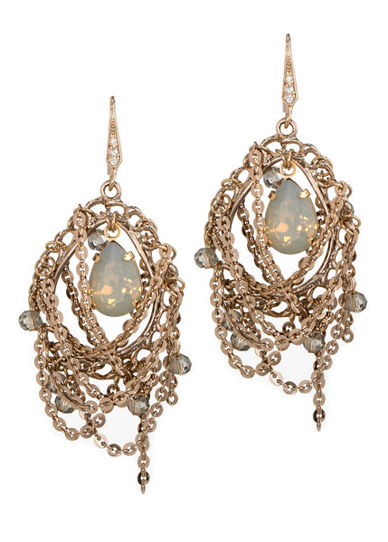 Chain draped oval drop earrings with Gray opal Swarovski crystal accent, Antique Gold finish