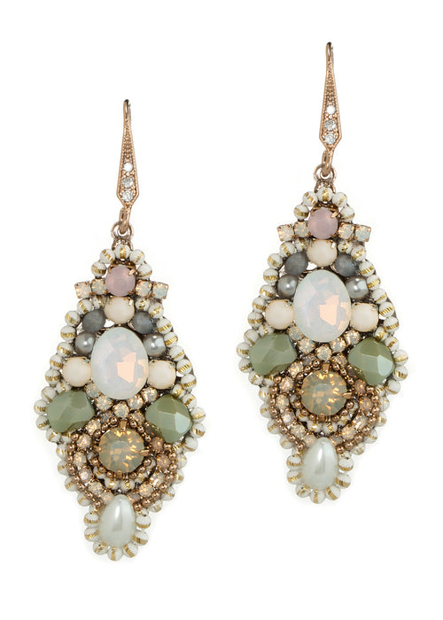 White Opal Swarovski crystal centered vintage ornate drop earrings, Antique gold finish