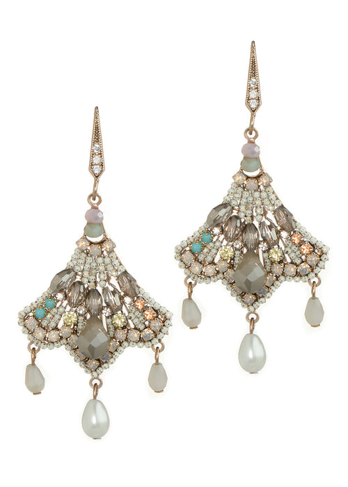 Madame Butterfly earrings with Swarovski crystals, Pearls and CZ, Antique Gold finish