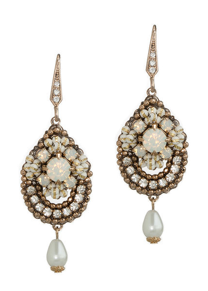Vintage teardrop earrings with a small pearl drop accent, Antique Gold finish