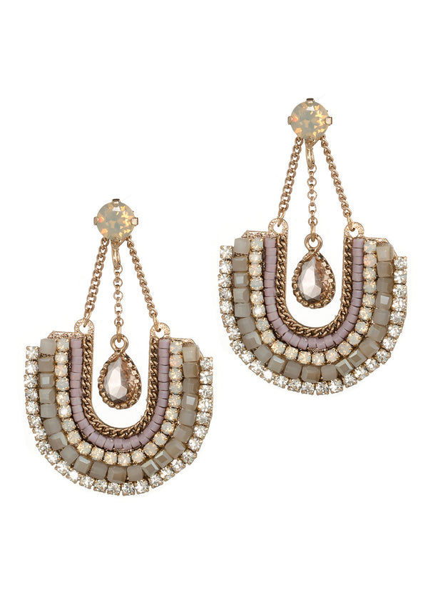 Horse shoe drop earrings with Swarovski crystals, CZ, accented with Gray Opal stud, Antique Gold finish