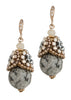Gray agate drop earring with Swarovski crystal studded cap, Antique gold finish