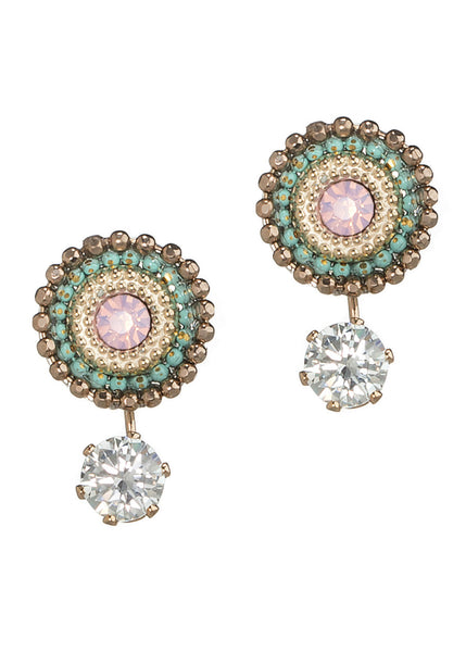 Together or separate Stud drop earrings with Swarovski crystals and one carat CZ drop, Antique Gold finish, Mint accent