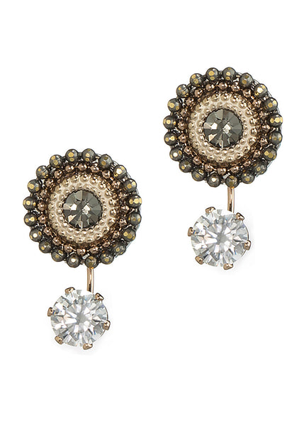 Together or separate Stud drop earrings with Swarovski crystals and one carat CZ drop, Antique Gold finish, Pink accent