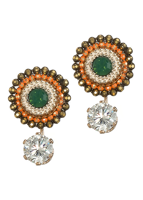 Together or separate Stud drop earrings with Swarovski crystals and one carat CZ drop, Antique Gold finish, Orange accent
