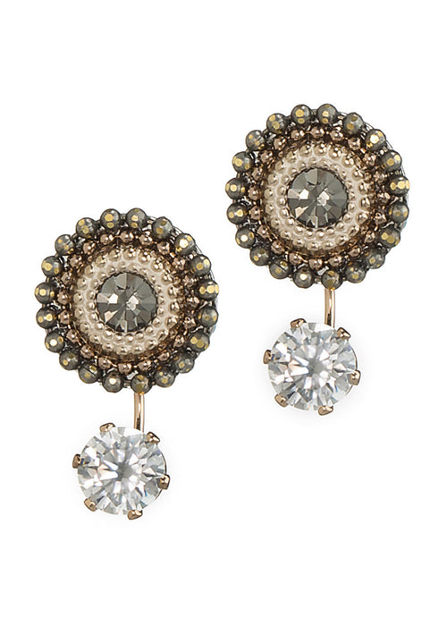Together or separate Stud drop earrings with Swarovski crystals and one carat CZ drop, Antique Gold finish, Neutral accent