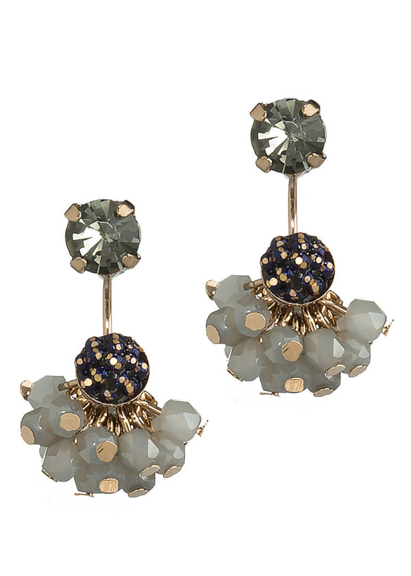 Together or separate stud earring with cluster of Swarovski crystal drop, Antique Gold finish, Black Diamond