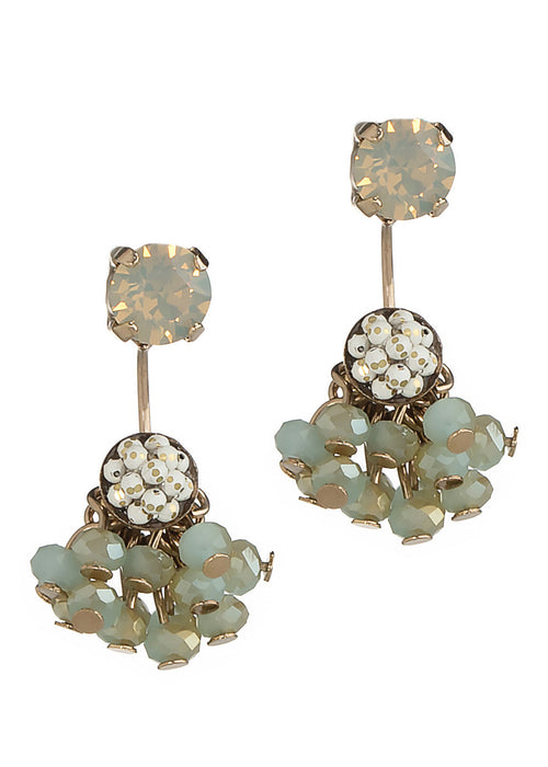 Together or separate stud earring with cluster of Swarovski crystal drop, Antique Gold finish, Gray Opal
