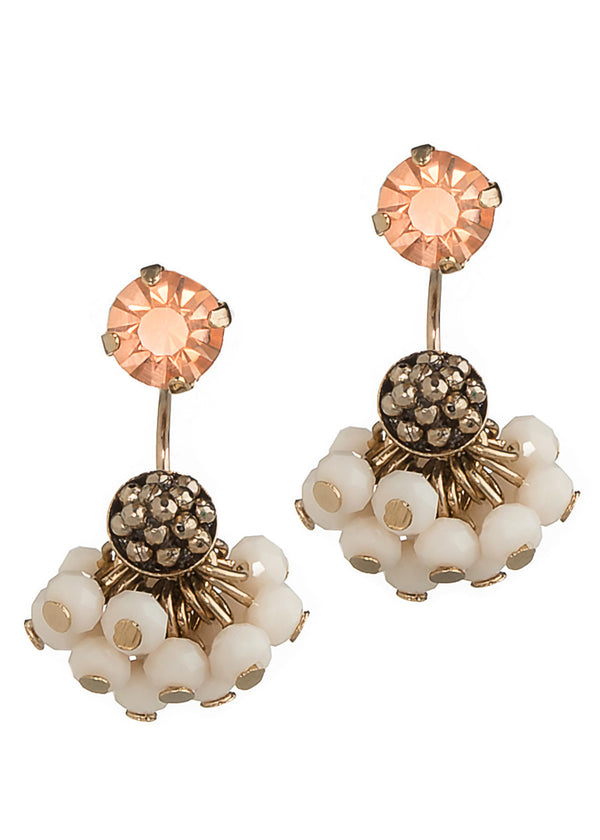 Together or separate stud earring with cluster of Swarovski crystal drop, Antique Gold finish, Peach