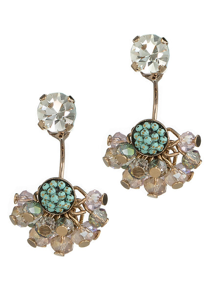 Together or separate stud earring with cluster of Swarovski crystal drop, Antique Gold finish, Clear