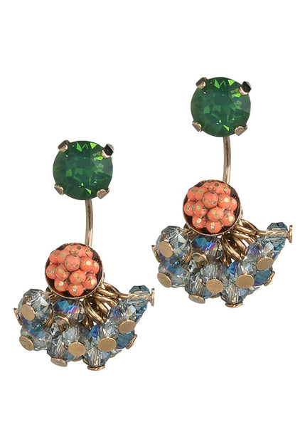 Together or separate stud earring with cluster of Swarovski crystal drop, Antique Gold finish, Green