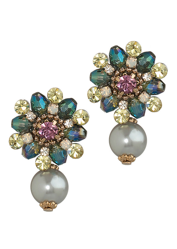 Together or separate ornate stud earrings with Swarovski crystals and Gray pearl, Antique gold finish