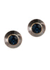 Bullet stud earrings, Antique gold finish, Blue Sapphire