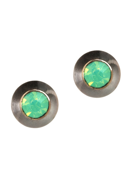 Bullet stud earrings, Antique gold finish, Pacific Opal