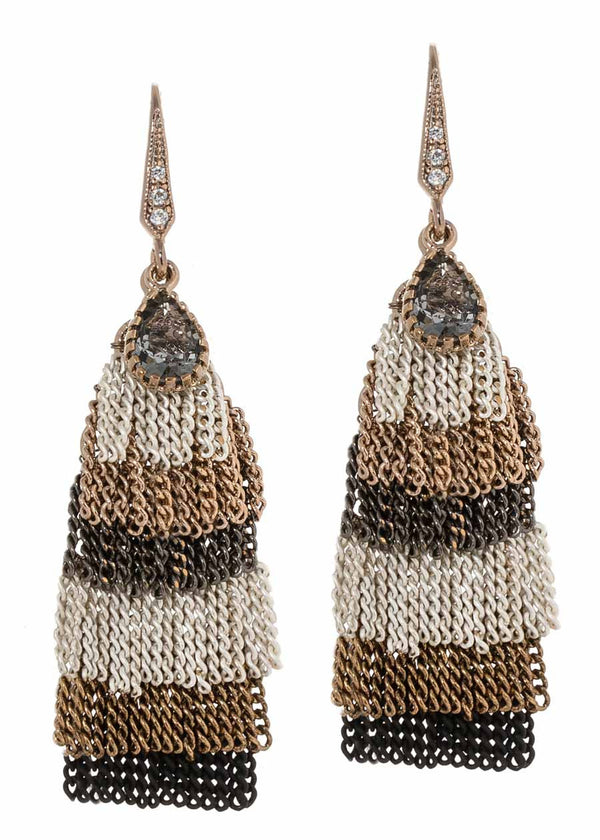 Kiera earrings with six layers of short tassels with teardrop Swarovski crystal accent, Neutral mix