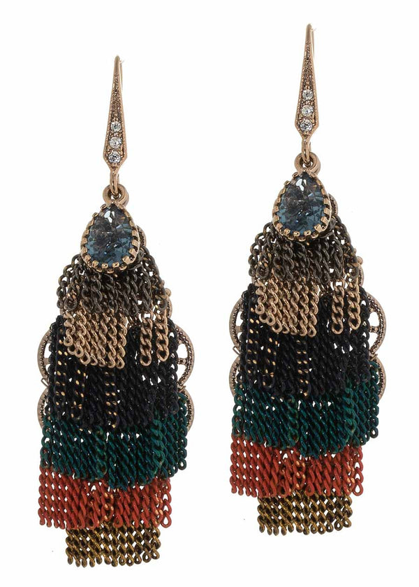 Kiera earrings with six layers of short tassels with teardrop Swarovski crystal accent, Color mix