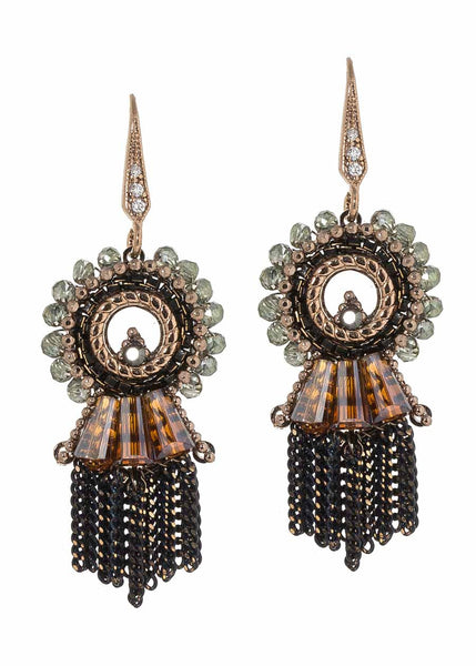 Cleo  earrings with Swarovski crystals and tassel accent, Neutral accent