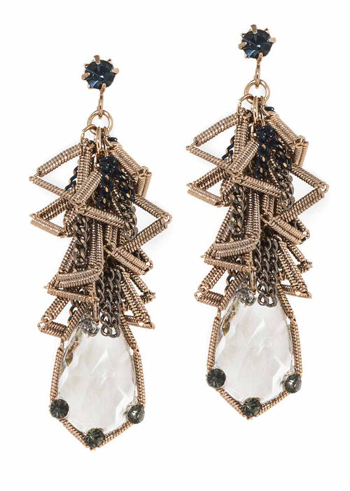 Clear rock CZ accented geometric wirework drop earrings, Antique gold finish, Black diamond accent