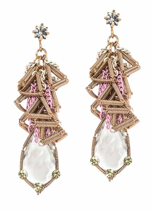 Clear rock CZ accented geometric wirework drop earrings, Antique gold finish, Topaz accent