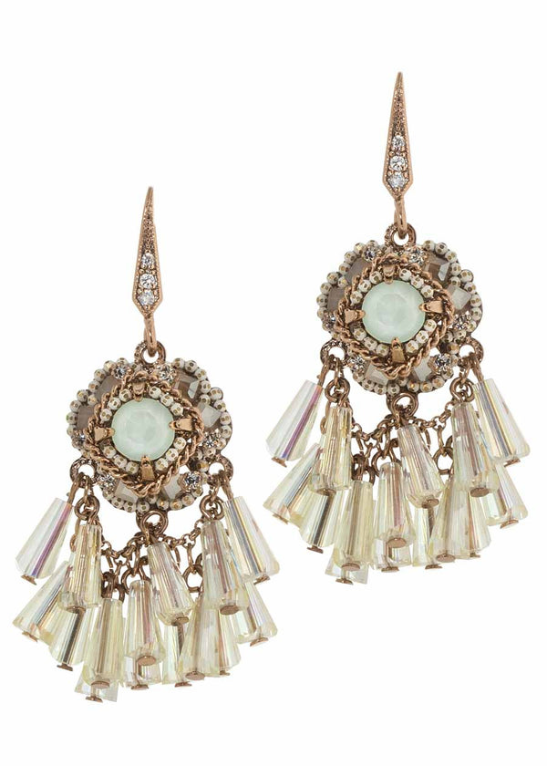 Florentine drop earrings with pillar cut Swarovski crystals, ice mix