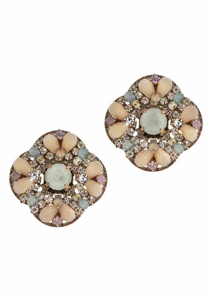 The garden of Versailles stud earrings with Swarovski crystals, Peach mix