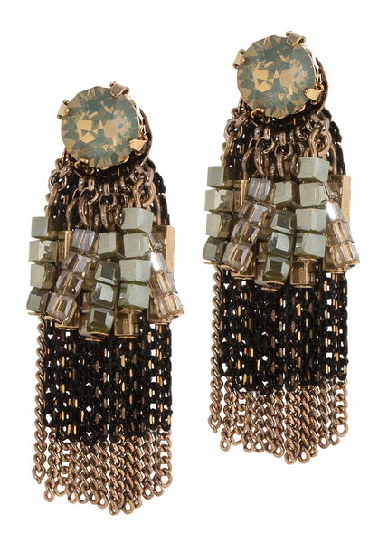 Athena stud earrings accented with large gray opal center stone and linear drop of stones and tassels, Multi finish