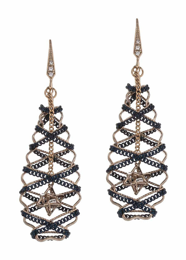 Crown jewel accented modified oval drop earrings with chain finish, Navy Multi