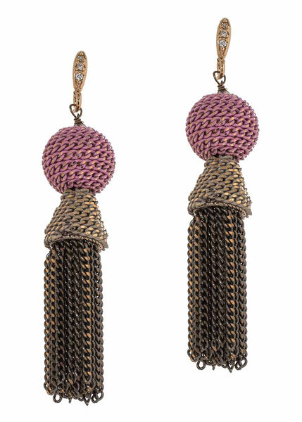 Ball accented chain tassel earrings, Pink combo, Multi finish