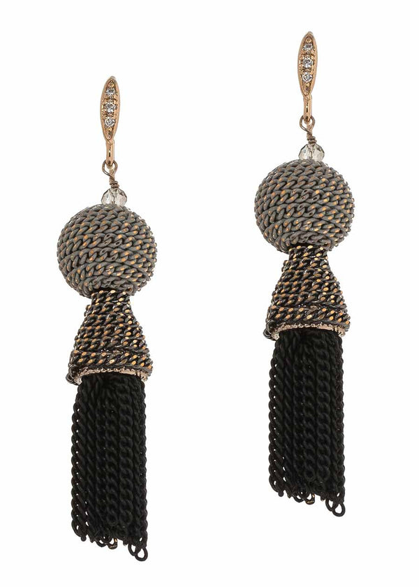 Ball accented chain tassel earrings, Gray combo, Multi finish
