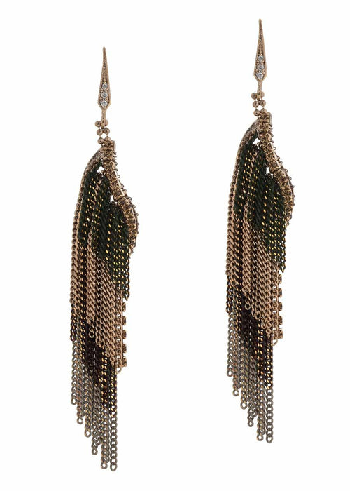 Coated chain multi layered drop earrings, Multi finish, Topaz accent